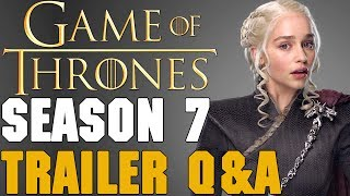 ▬▬ Video Description ▬▬And we are back with another Season 7 Trailer video, this time focusing on some of your questions and comments from the trailer. I originally wanted this to be longer but I also want to save some questions and comments for the Game of Thrones Podcast. Feel free to message me privately anytime with your thoughts and I will try my hardest to get back to you, as always. ▬▬ Support My Channel ▬▬● Patreon: https://www.patreon.com/redteamreview●T-Shirts: https://shop.spreadshirt.com/RedTeamReview● P.O. Box Coming Soon▬▬ Follow Us on Social Media! ▬▬● Facebook: https://www.facebook.com/redteamreview● Twitter: https://twitter.com/RedTeamReview● Instagram: https://www.instagram.com/redteamreview/● Tumblr: http://redteamreview.tumblr.com/● Snapchat https://www.snapchat.com/add/redteamreview▬▬ Big Thanks to our Patrons! ▬▬❤Lady Milk Maid❤Marilyn B❤Katherine D.R❤Julian M❤Lauri K❤kingmckay❤Jabzkillem❤ Pamela B❤universalpotentate❤Rob from Nashville❤Sophie❤Bittersteel❤Napoleon Dagalea❤Robert M▬▬ Check Out These Videos! ▬▬►Star Wars Aftermath Top 3 - https://youtu.be/V9ZtULU7KHU►Red Vs Blue Season 12 Review - http://youtu.be/DQ37PBgYxqc►Destiny Review - http://youtu.be/xNSNtpikkPk►GoT Telltale Game Characters - http://youtu.be/43lTlNjbbeE►Marvel's Jessica Jones Review - https://youtu.be/VF9WlkrmNEg►Game of Thrones: An Epic or History Book? Feat - History Buffs  - https://youtu.be/0hmXyP9Vmm4▬▬ Partners, Friends & Affiliates ▬▬★http://polar-biscuit.tumblr.com/tagged/polarbiscuit★https://www.youtube.com/user/theissuesguystuff★https://www.youtube.com/user/FeroxStudios★https://www.youtube.com/user/BrimRun★http://tiny.cc/historybuffs★http://mannamedgeorge.deviantart.com/▬▬ Information ▬▬Game of Thrones is an American fantasy drama television series created for HBO by David Benioff and D. B. Weiss. Based on the fantasy novel series, A Song of Ice and Fire by George R.R. Martin. A Game of Thrones is one of the most successful television series to ever made and conti