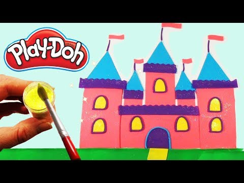 Play Doh Sparkle Colorful Doll's Castle  DIY for Kids  Play Dough Art Funny learning
