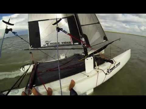 2008 Hobie Tiger F18 Catamaran, beach launch w 2 people