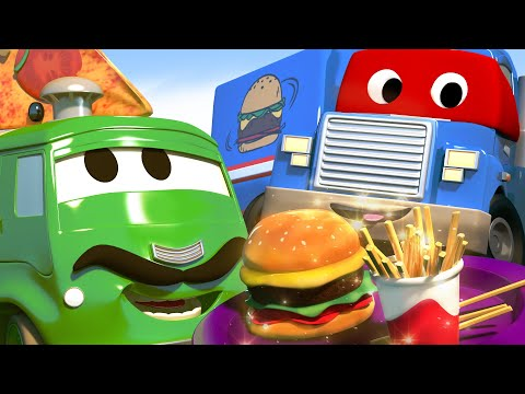 Super Truck is a Ham Van and Saves the Dinner - Carl the Super Truck - Car City ! Trucks Cartoons