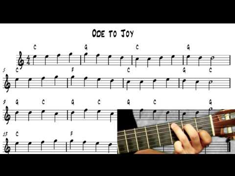 Learn to Play Guitar – Ode To Joy – notereading