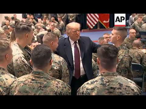 Trump visits Marines who recently helped DC fire