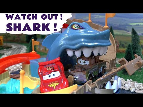 color - Disney Pixar Cars try to rescue Hot Wheels Color Changer Car in Shark Attack helped by Spider-Man and Thomas The Tank Engine. This is the Hot Wheels Shark Park Playset with Colour Changing...