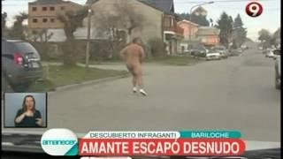 ¡No le importó ni el frío! En Bariloche un amante se escapó desnudo