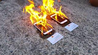 Apple iPhone 6 vs Samsung Galaxy S5 ON FIRE
