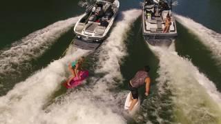 Ashley Kidd and Chris Wolter bowl wake surfing on lake Austin TX