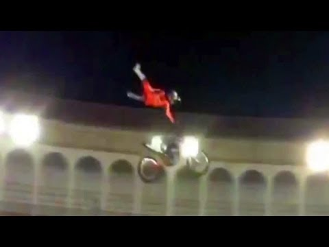 Motocross rider comes off bike mid-air, fails to make landing