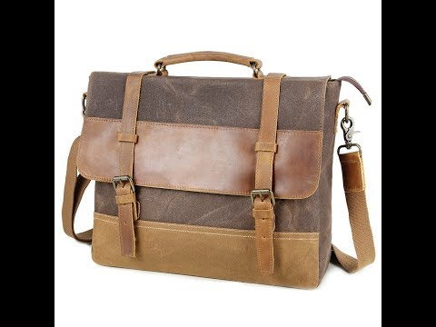 Tocode Men's 14in Vintage Canvas Water Resistant Messenger Bag