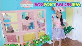 Bug's Unicorn Salon ! Boxfort Barbie Beauty Spa | Elsa and Rapunzel Makeover