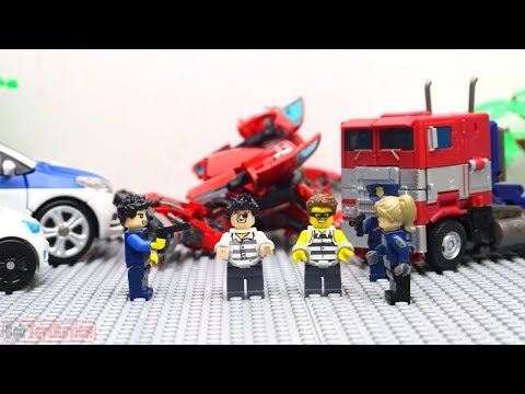 Full Transformers Lego Adventure & Police! Optimus Prime Movie Animation Robot Truck!