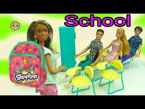 Barbies Go To School with Mini Shopkins Backpacks - Teacher Opens Season 5 Packs with Blind Bags