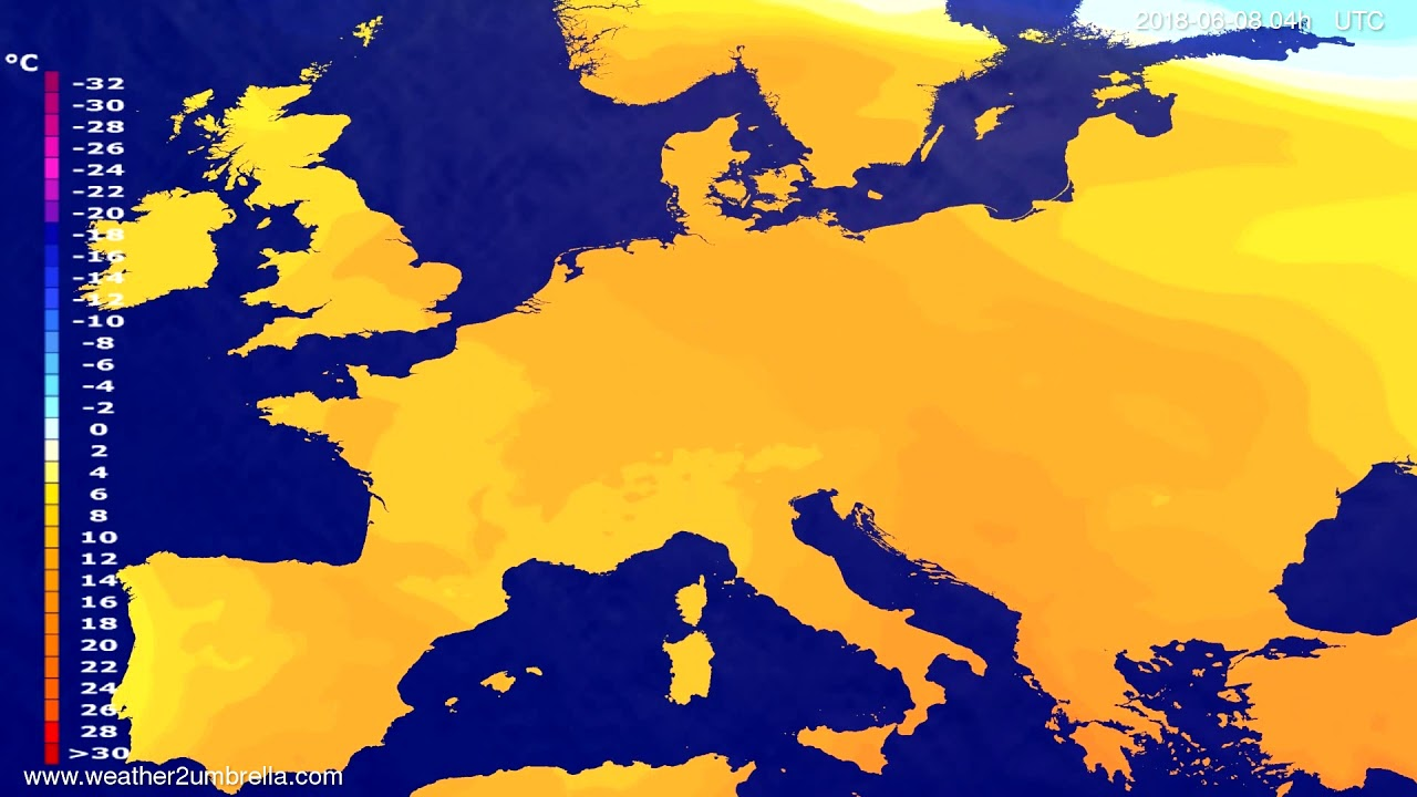Temperature forecast Europe 2018-06-04