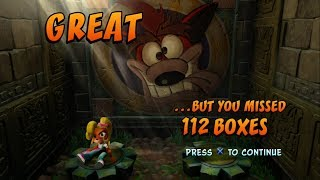 This was a request. You guys made me do this. One bandicoot was hurt during the making of this video and she was not happy about it.112 boxes is the highest number you can miss in one single level and that level is Jaws of Darkness. Follow-up to this video where I do the same thing with Crash:https://www.youtube.com/watch?v=TIojHwo_4XM