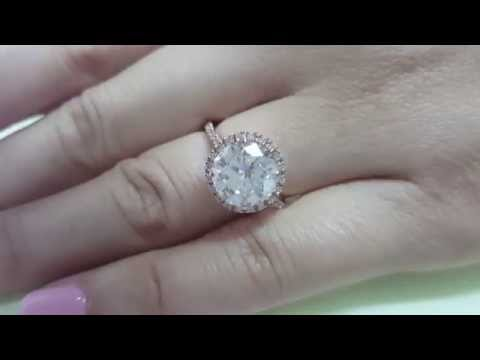 3 Carat G H VS1 Natural Diamond Engagement Bride Halo Ring 14K Rose Gold 3.00 CT