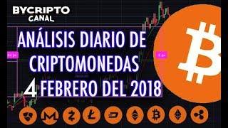 ANALISIS TÉCNICO DE CRIPTOMONEDAS BITCOIN RIPPLE ETHEREUM CASH LITECOIN 4 FEBRERO 2018 HOY