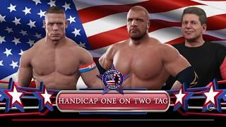 1 VS 2 Handicap Match with John Cena VS Triple H & Vince McMahonWWE 2K17https://store.playstation.com/#!/en-us/tid=CUSA05038_00