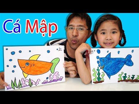 Bố Hướng Dẫn Bé Bún Vẽ Con Cá Mập Từ Hình Múi Cam Drawing & Coloring A Shark