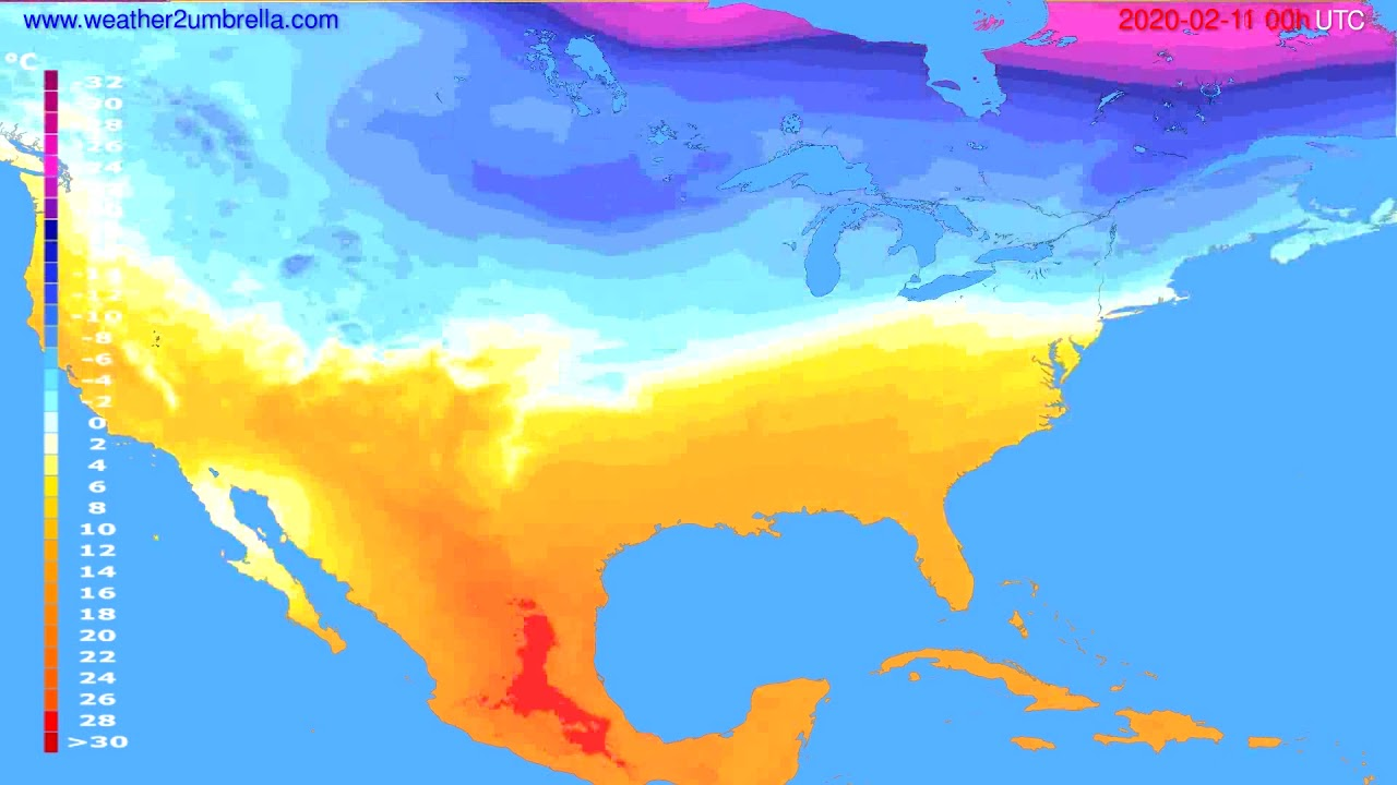 Temperature forecast USA & Canada // modelrun: 00h UTC 2020-02-10