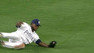 Franchy Cordero charges in to make a smooth sliding catch on a sinking liner off the bat of Jose Peraza Check out ...
