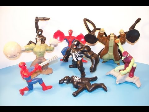2009 THE SPECTACULAR SPIDERMAN ANIMATED SERIES SET OF 8 McDONLAD'S HAPPY MEAL TOY'S VIDEO REVIEW