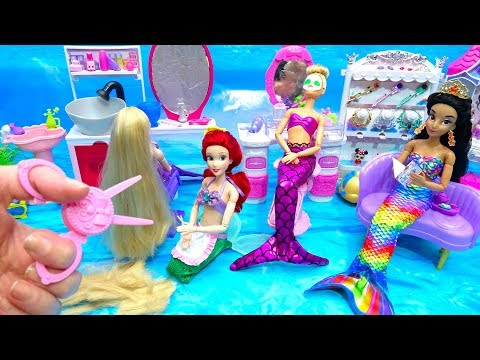Mermaids Life Princess Ariel Hair Salon Styling Rapunzel Makeover-Haircut Barbie Jewelry Necklace