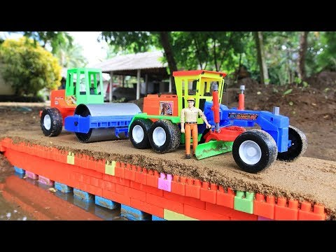 Building bridge with Grader, Truck, Excavator,Road Roller | Building blocks colore toys for kids