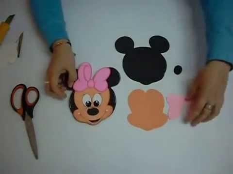 Gorro Minnie Mouse en Foami, Goma Eva, Microporoso (1ra Parte)