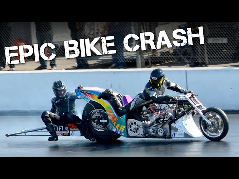 fuel - Top Fuel Drag Bike rider Filippos Papafilippou collides at almost 200mph with fellow competitor Steve Woollatt and is flung off his bike and onto the wheelie...