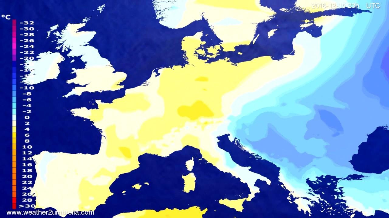 Temperature forecast Europe 2016-12-12