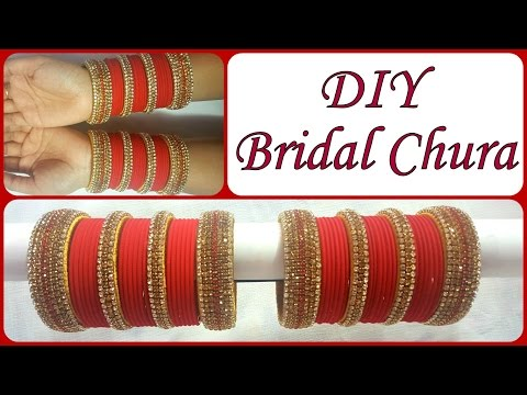 Video DIY Golden Red Bridal Chura I Recycle old Bangles into Bridal Silk thread Chura I Creative Diaries download in MP3, 3GP, MP4, WEBM, AVI, FLV January 2017