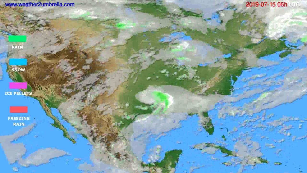 Precipitation forecast USA & Canada // modelrun: 00h UTC 2019-07-13