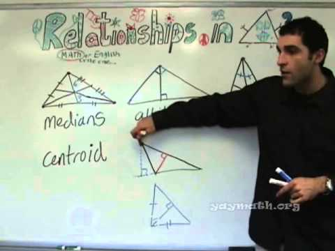 geometry - Here we dissect all the major components of the triangle, including median, centroid (sounds like a robot), angle bisectors, altitudes, and perpendicular bis...