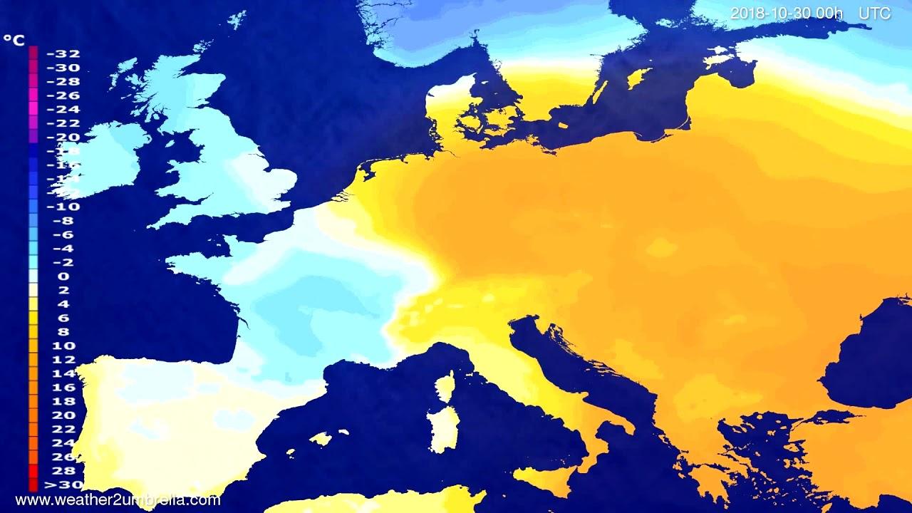 Temperature forecast Europe 2018-10-27