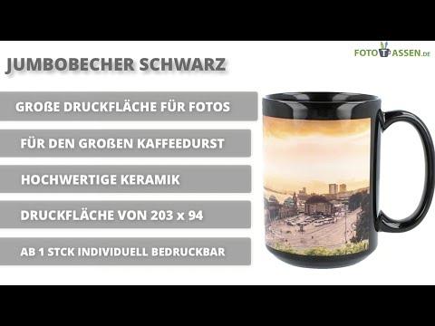 Schwarze Jumbotasse - große Tasse mit Foto bedrucken