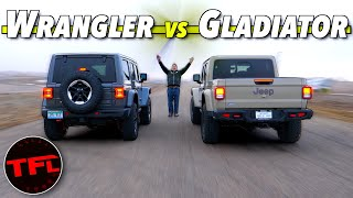 Does the 2020 Jeep Wrangler Diesel DEMOLISH A New Gladiator In a Drag Race? by The Fast Lane Car