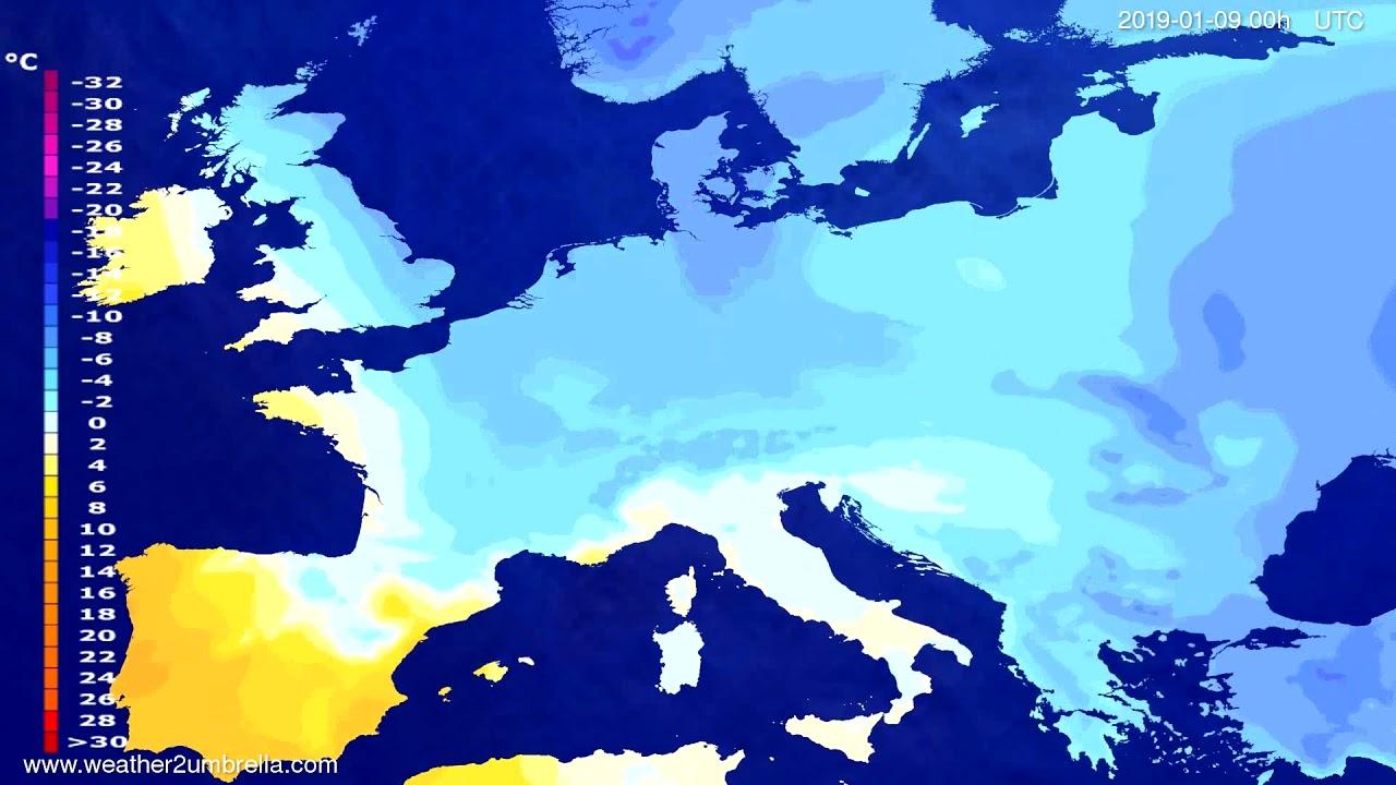 Temperature forecast Europe 2019-01-06