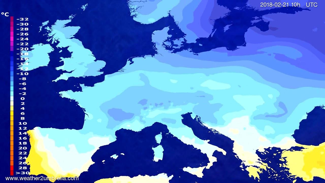 Temperature forecast Europe 2018-02-19