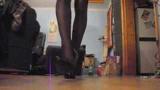 Crossdressing Wearing Black Nylon Seamed Stockings&6
