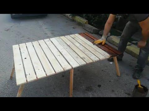 Paletlerden portatif kamp masası yapımı . Katlanır masa yapımı