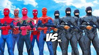 Video RoboCop Army VS Spiderman Suits - Spiderman, Iron Spider, Spider-Man 2002, The Amazing Spider-Man MP3, 3GP, MP4, WEBM, AVI, FLV Juli 2018