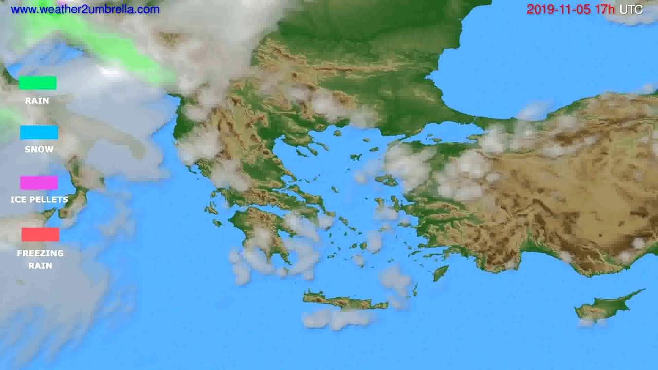 Precipitation forecast Greece // modelrun: 00h UTC 2019-11-04