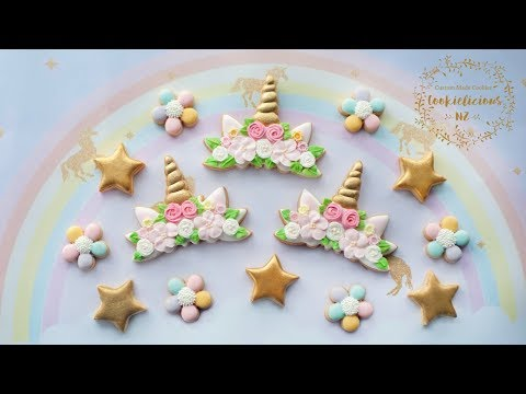 How to make UNICORN FLOWER CROWN COOKIES - How to make Royal Icing Flower Tutorial INCLUDED!