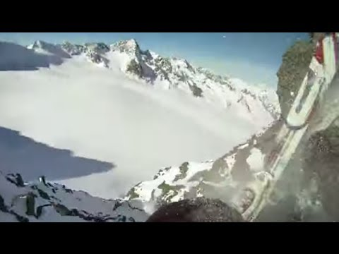 Finally released: Skier loses footing, falls off cliff (Captured by own GoPro)