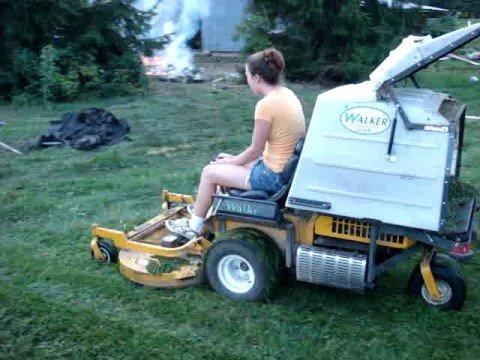 anne cutting grass