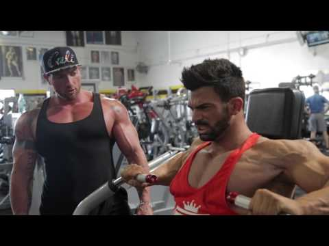 Sergi Constance Chest day workout at golds gym Venice with Justin Lovato