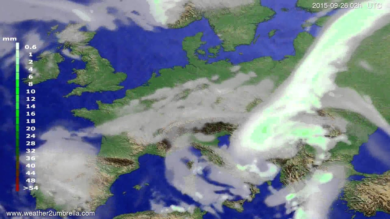Precipitation forecast Europe 2015-09-22