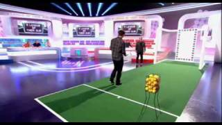Andy Murray's attempty at the Roger Federer trick shot on a UK TV show, a league of their own with james corden.