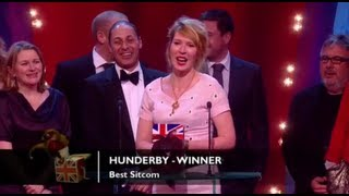 Hunderby has won in another category, congratulations for winning the award for Best Sitcom!The concept for the Awards was originally devised and produced by British TV legend, Michael Hurll to promote homegrown comedy talent. The original show was presented by Michael Parkinson and winners included VICTORIA WOOD as Best Live Stand-up, PAULINE QUIRKE as Best TV Comedy Newcomer, and DROP THE DEAD DONKEY as the Best New TV Comedy. Other winners included RUSS ABBOTT, CLIVE JAMES & ROWAN ATKINSON.http://www.britishcomedyawards.com/https://twitter.com/comedyawardshttp://www.facebook.com/pages/British-Comedy-Awards/160295097348405