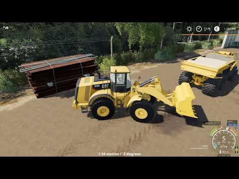 Farming Simulator 19 loading sable using CAT 980K