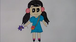 Very Easy ! Draw cute girl from  words GIRL step by step for kids